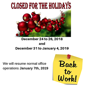 Office Closure For The Holidays