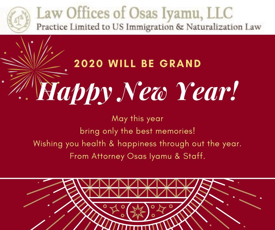 Happy New Year from Attorney Osas Iyamu & Staff!